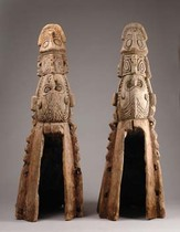 Front- and back prow of  a dugout, Papua New Guinea - Sepik