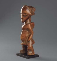 Standing male ancestor figure, D. R. Congo, Luba