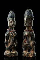 "Female pair of twin figures ""ere ibeji"", Nigeria, Yoruba, Area of Ilobu"