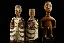 "Two female and a male twin figure ""venavi"", Togo, Ewe"