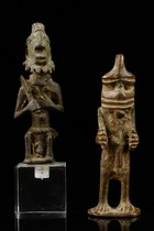 Two figures and oracle board, Nigeria, Yoruba