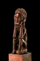Sitting bearded male figure, D. R. Congo, Kanyok