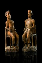 Pair of male colon figures, Angola