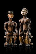 "Pair of figures from an ""anjenu"" shrine, Nigeria, Idoma"