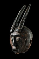 Anthropomorphic mask with horns, Nigeria, Basa Nge