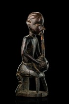 Sitting figure with pipe, D. R. Congo, Pende