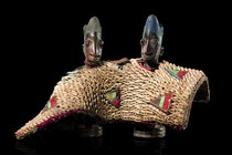 Female pair of twin figures &quot;ere ibeji&quot; in cowrie snail coat, Nigeria, Yoruba, Area of Oyo