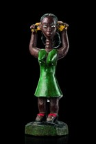 Colon figure: young woman in green dress, Ivory Coast, Baule
