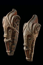 "Pair of ""singa"" heads, Indonesia - Sumatra, Batak"