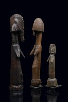 Three fertility dolls &quot;biiga&quot;, Burkina Faso, Mossi