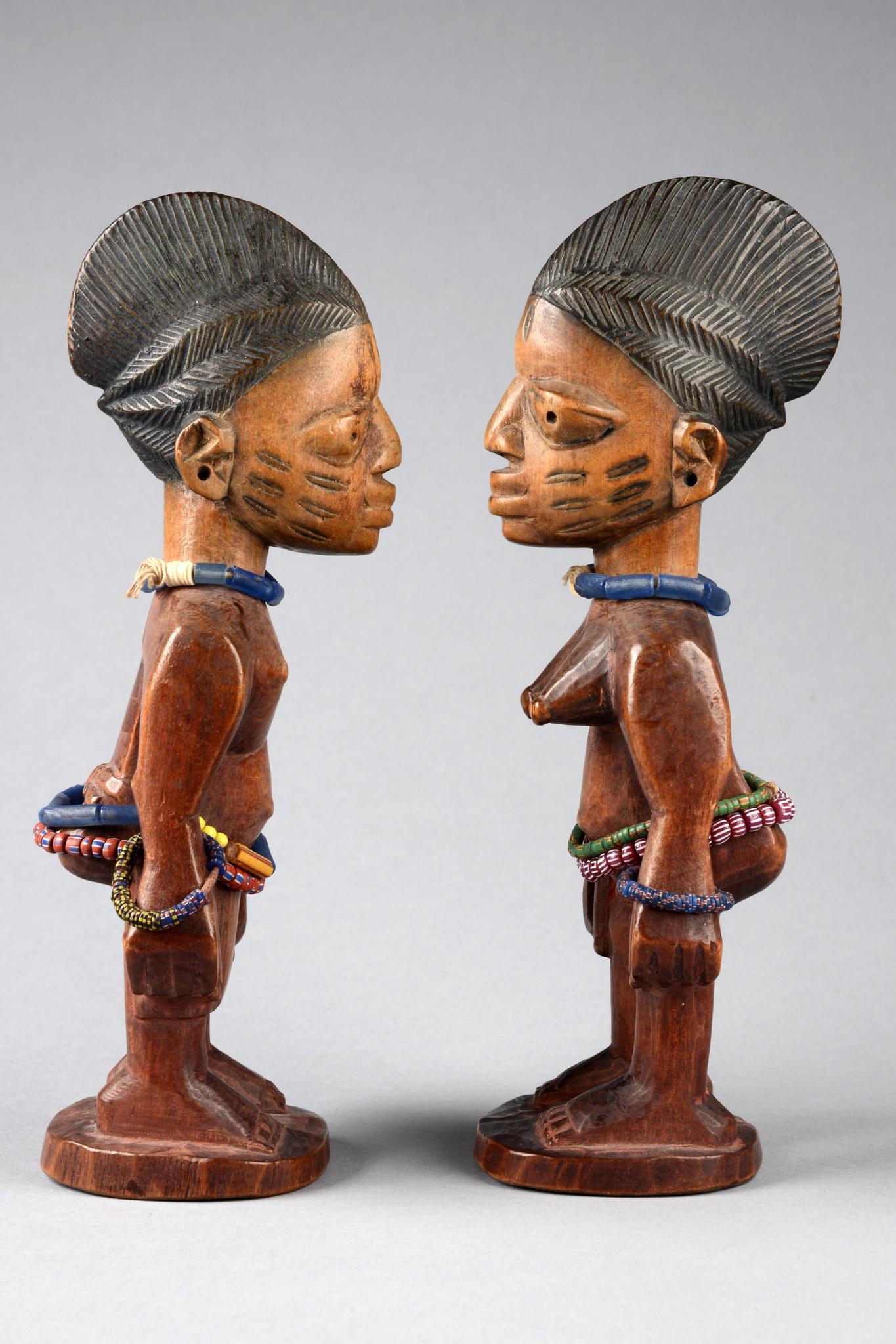 """Male/female pair of twin figures """"ere ibeji"""""""