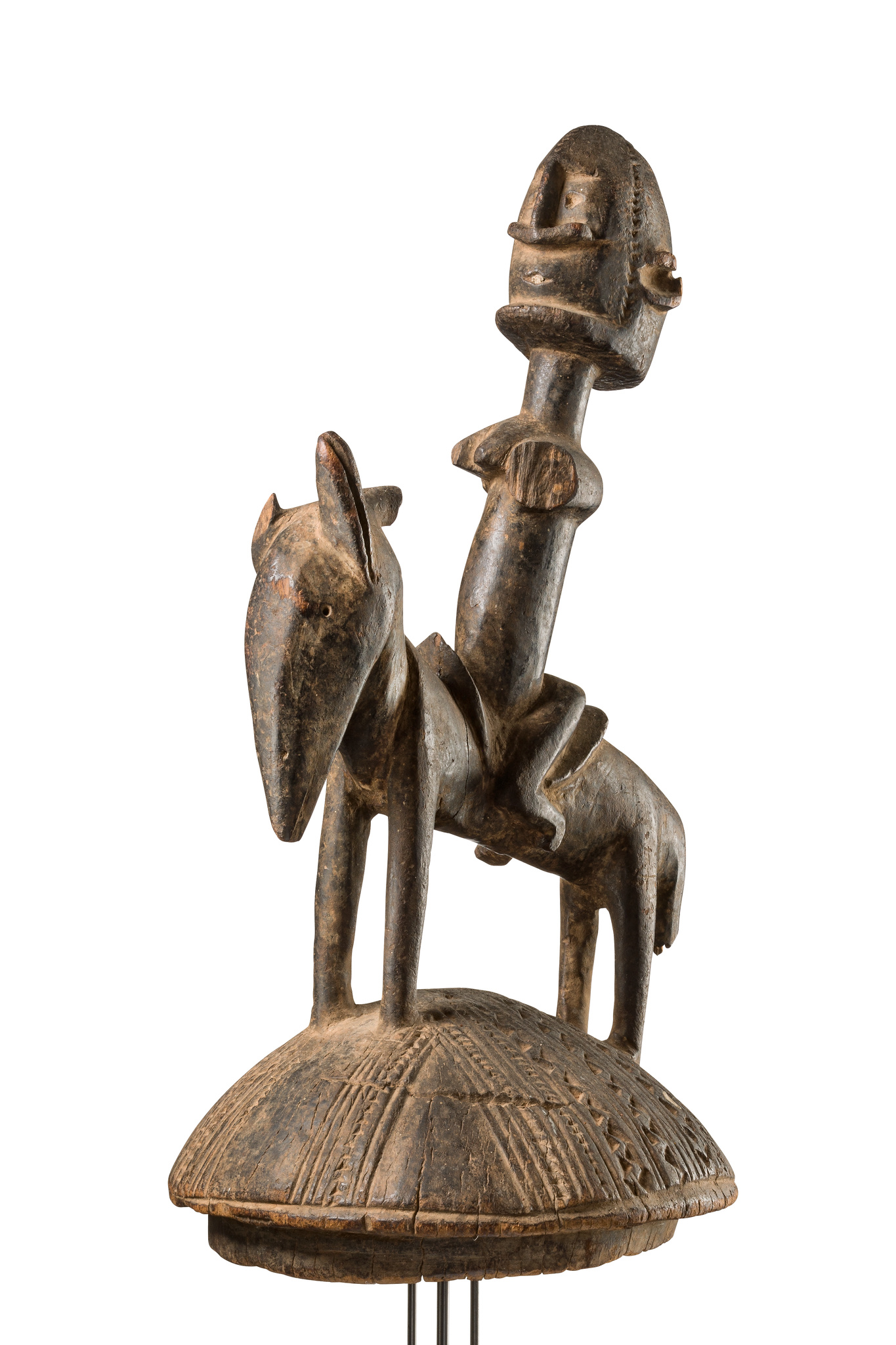 Lid of a ritual vessel with equestrian figure