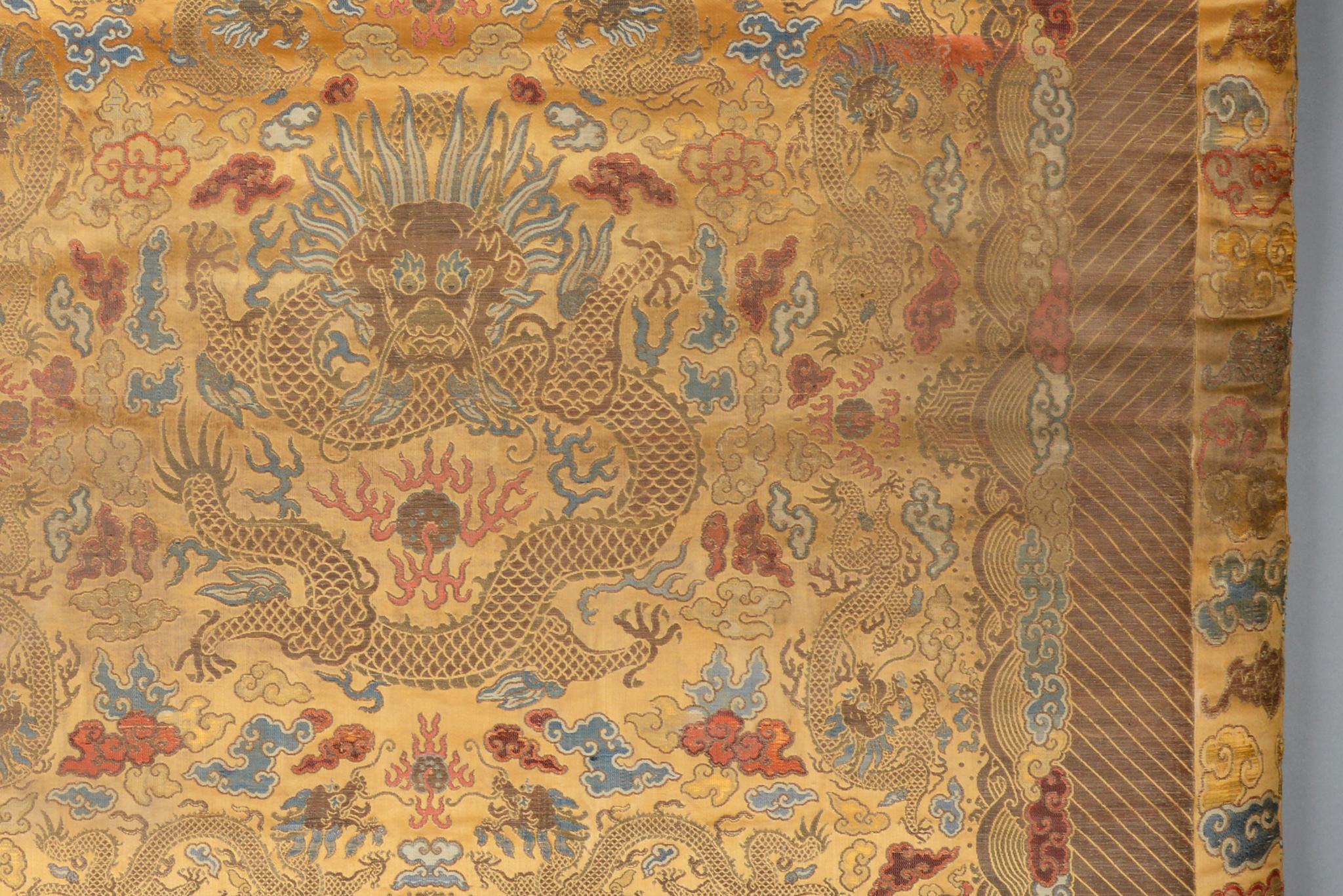 Seltenes königliches Thron- Sitzkissen mit Drachenmotiv, 1850 - 1900