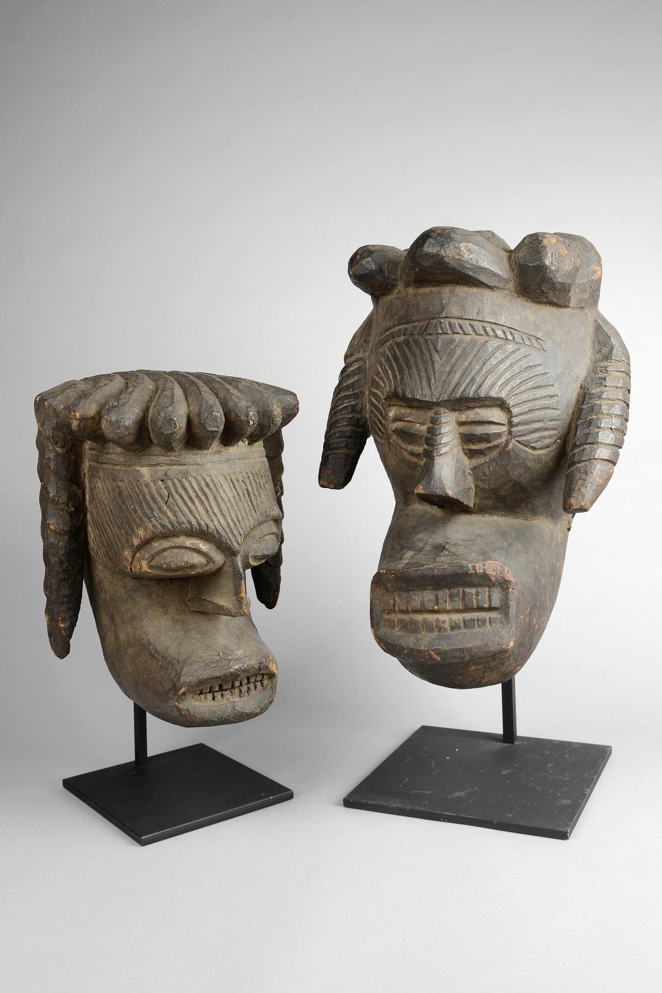 "Two anthropomorphic masks ""okoroshi ojo"""