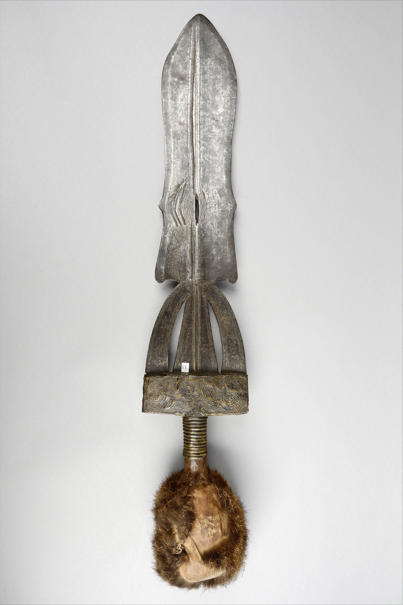Sword knife with spherical fur knob