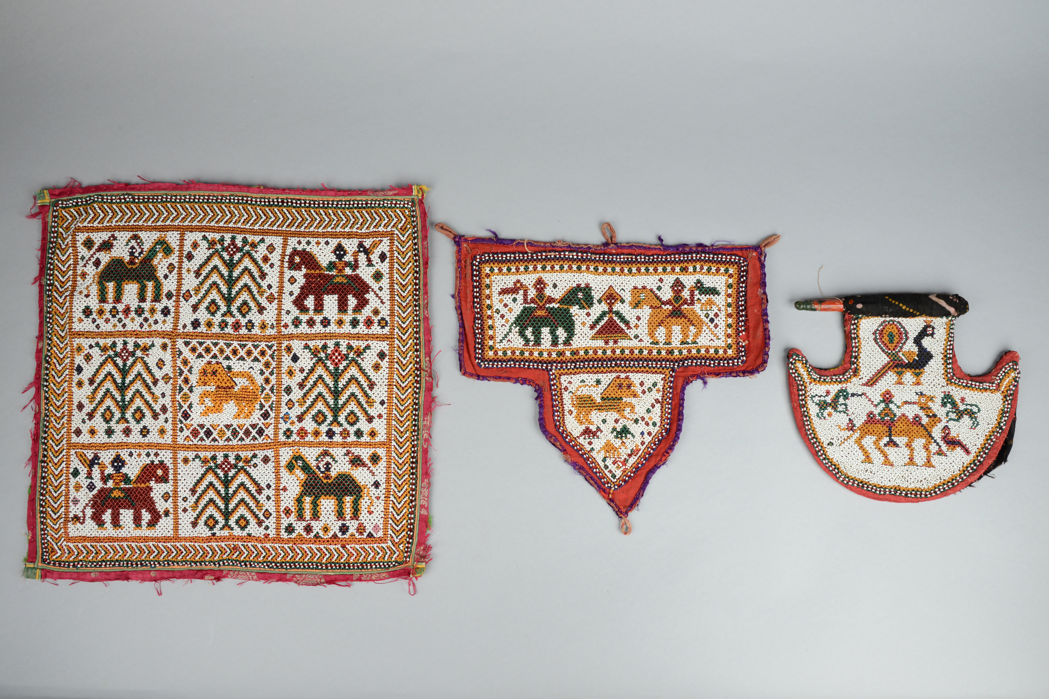 Fan and two textiles with