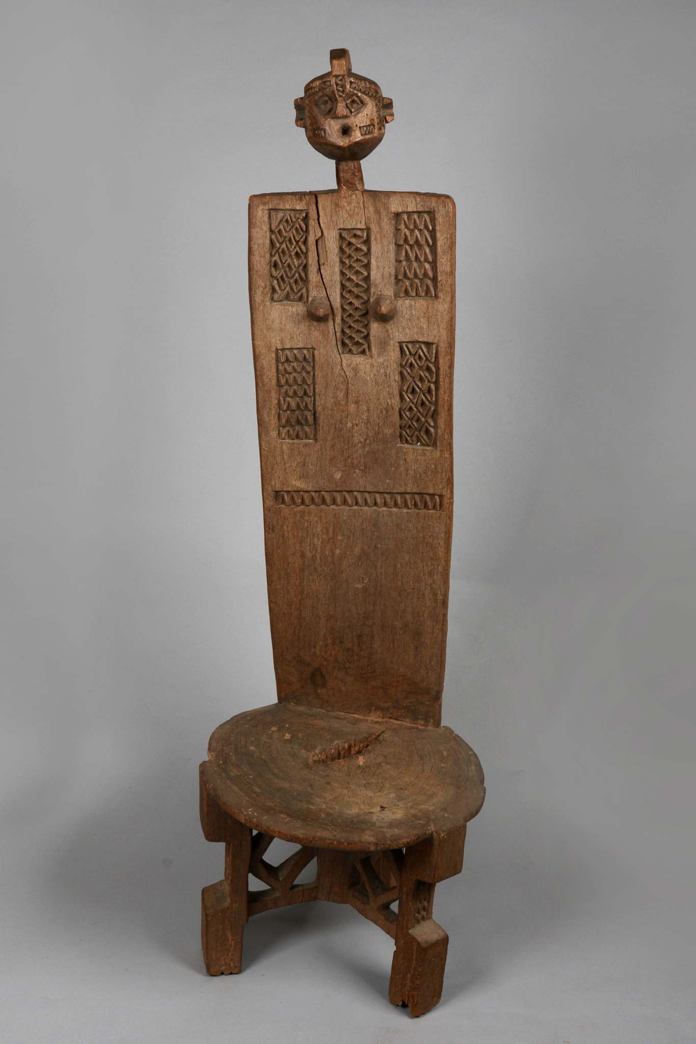 Throne stool with high backrest