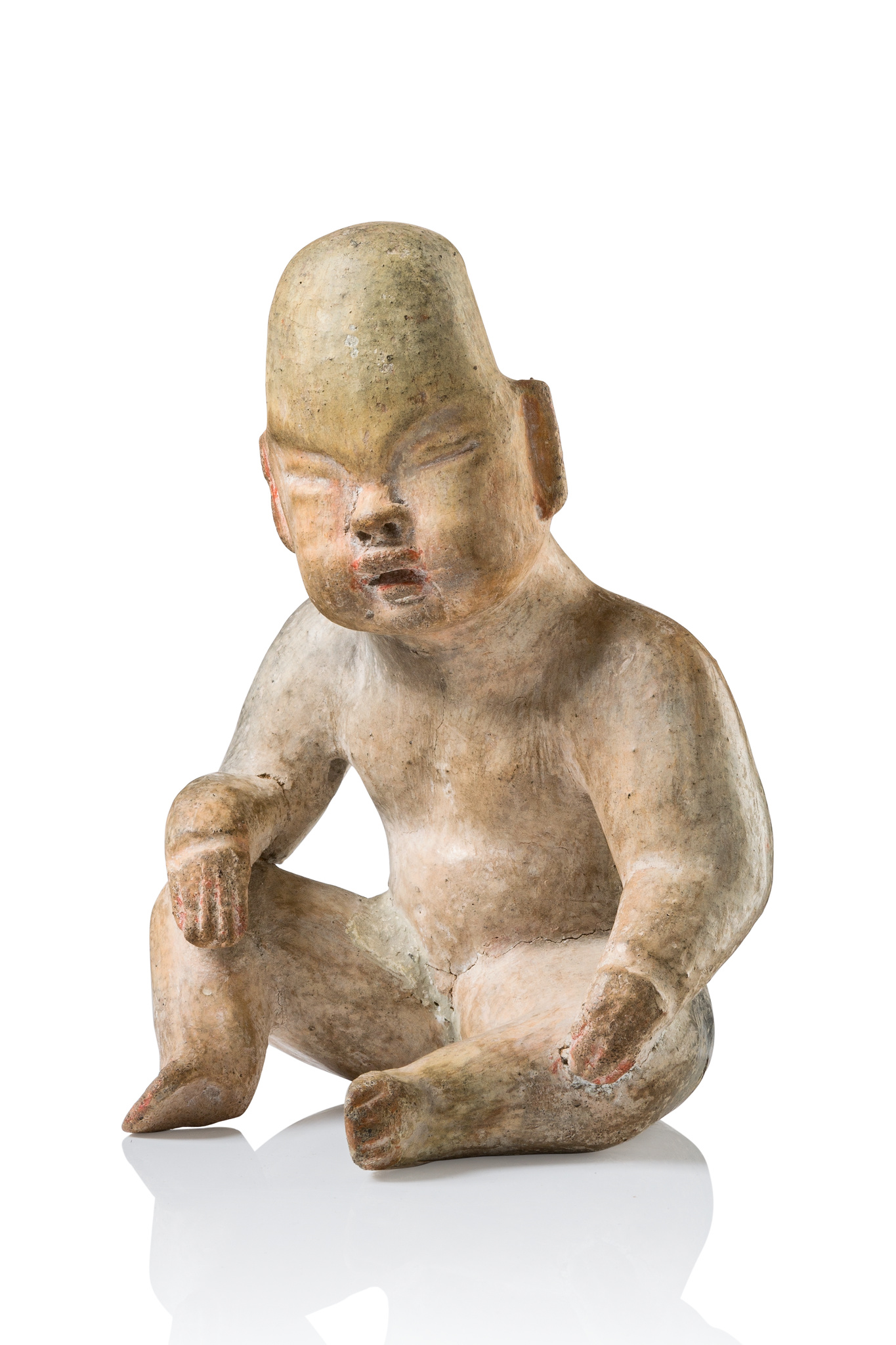 """Sitting figure of the """"Baby Face"""" type, ca. 1000-800 BC"""