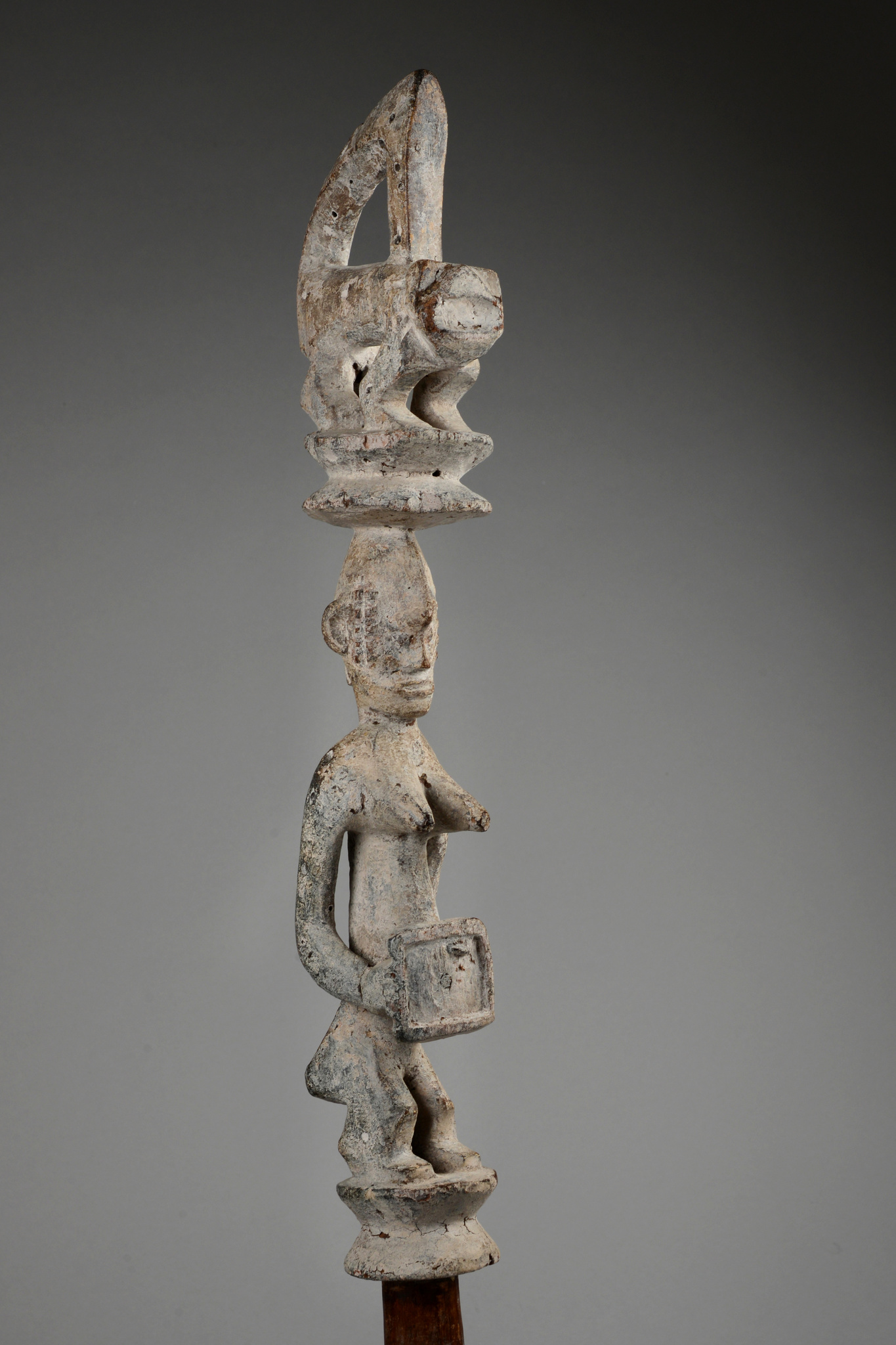 """Cult staff with statue for male aggression """"iphri"""""""