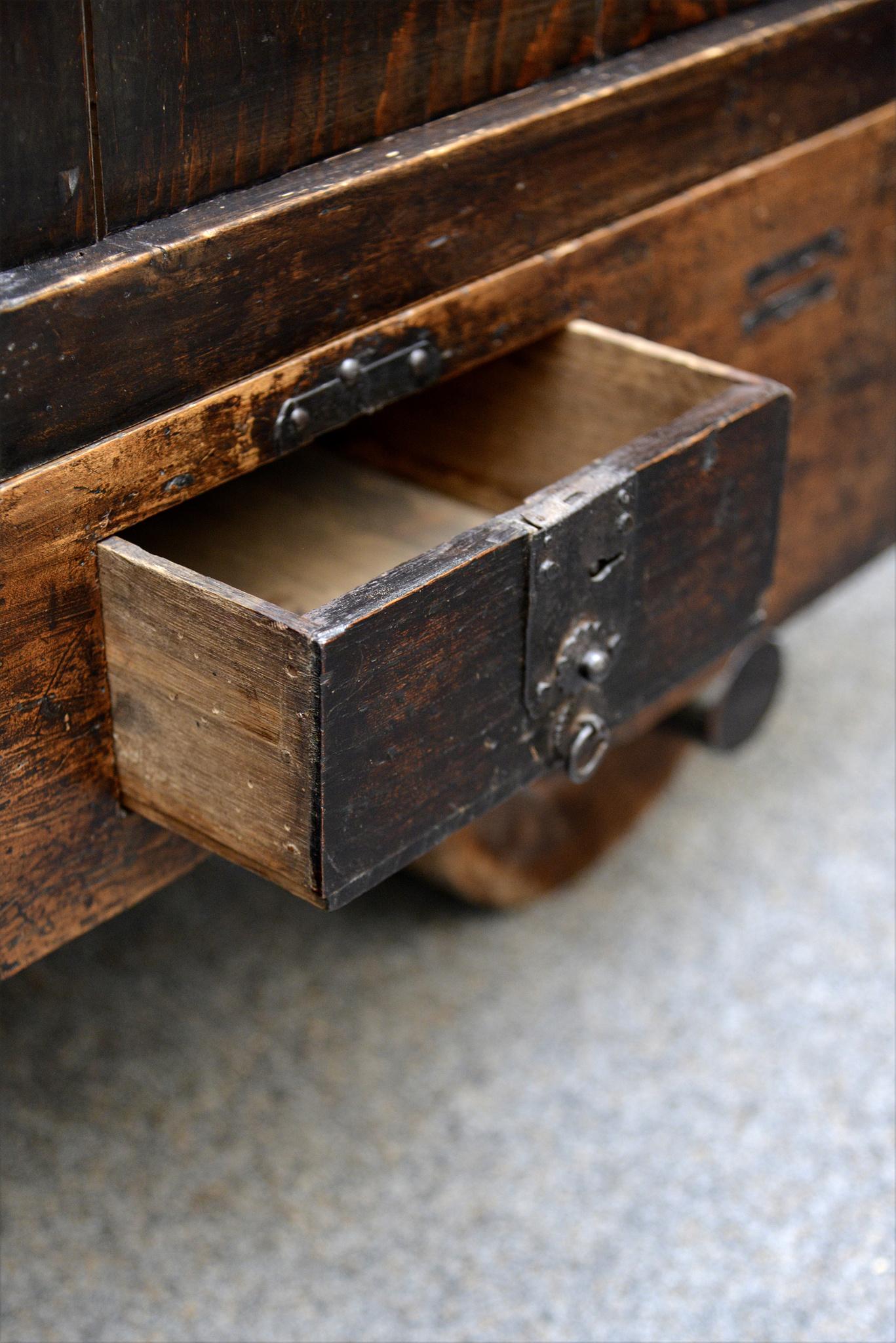 """Wheeled """"kuruma tansu"""" storage chest, late Edo period, 19th century"""