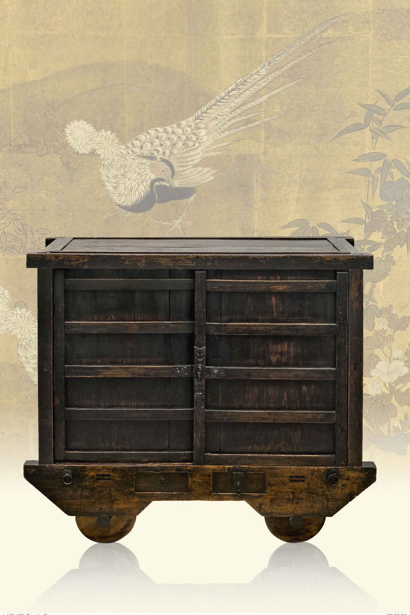 "Wheeled ""kuruma tansu"" storage chest, late Edo period, 19th century"