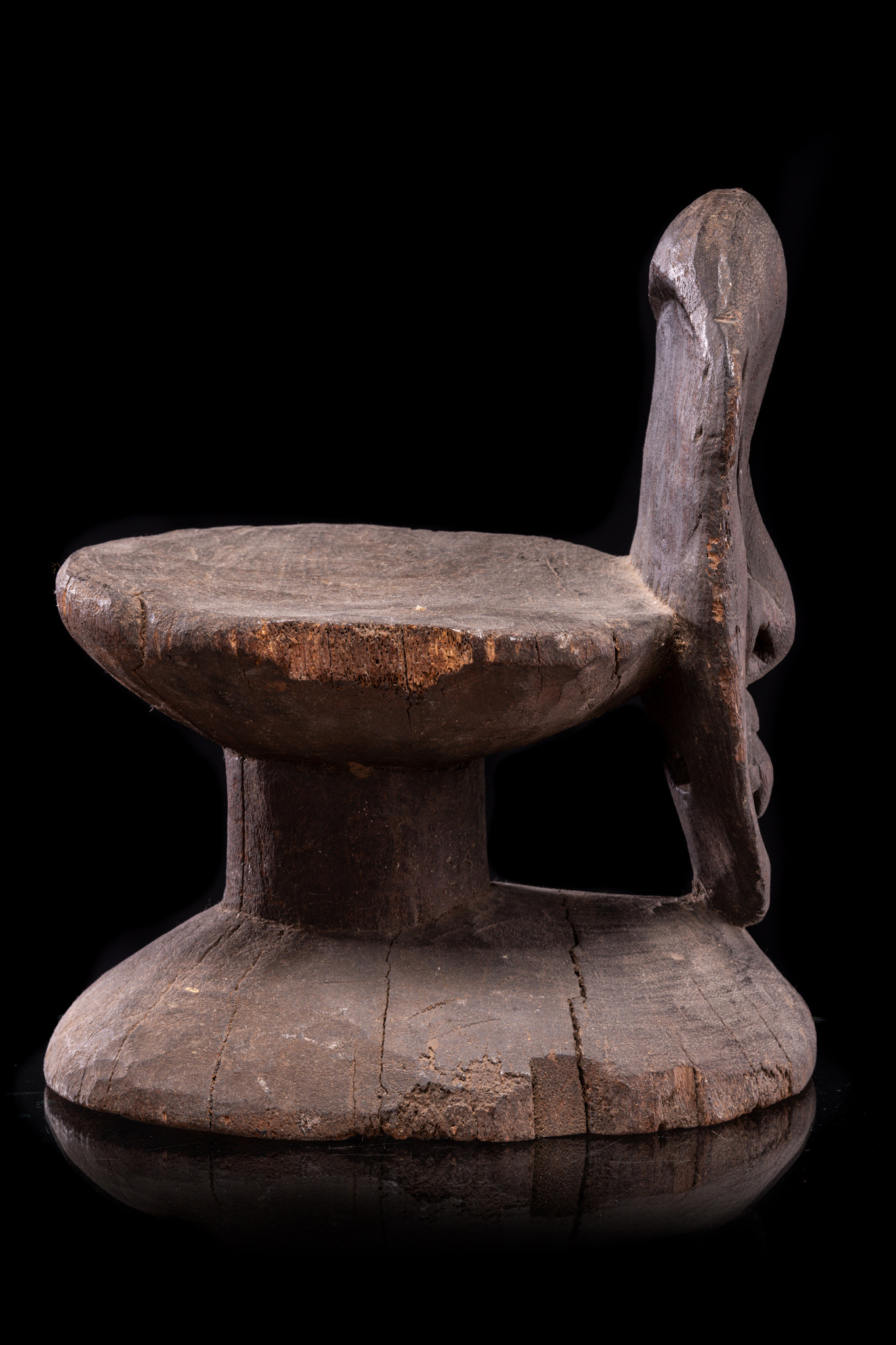 Stool with anthropomorphic face, around 1920