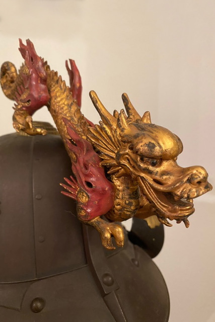 "Helmet ""kabuto"" with dragon ornament ""maedate"" and neck protection ""shikoro"", Edo period"